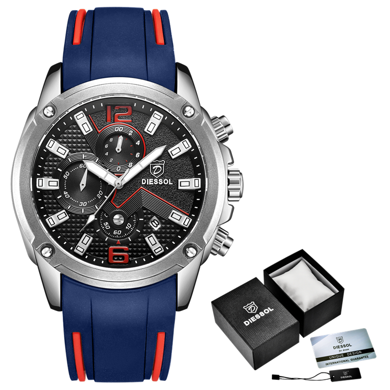DIESSOL Men's Fashion Sports Quartz Watch Mens Watches Top Brand Luxury Rubber Band Waterproof Business Watch Relogio Masculino 2