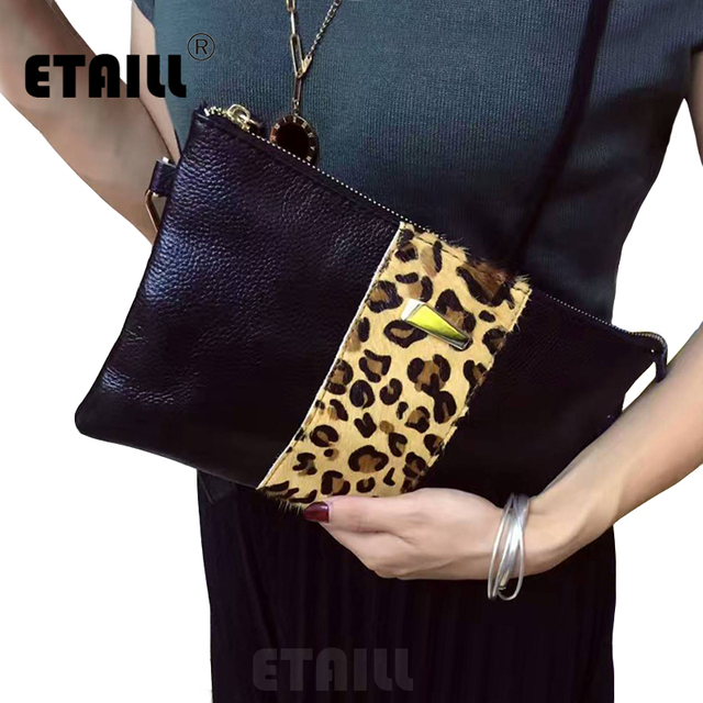 Horsehair+Real Leather Ladies Leopard Evening Bag Fashion Design Horse Hair Leopard Luxury Clutch Bags Shoulder Purse Wristlets