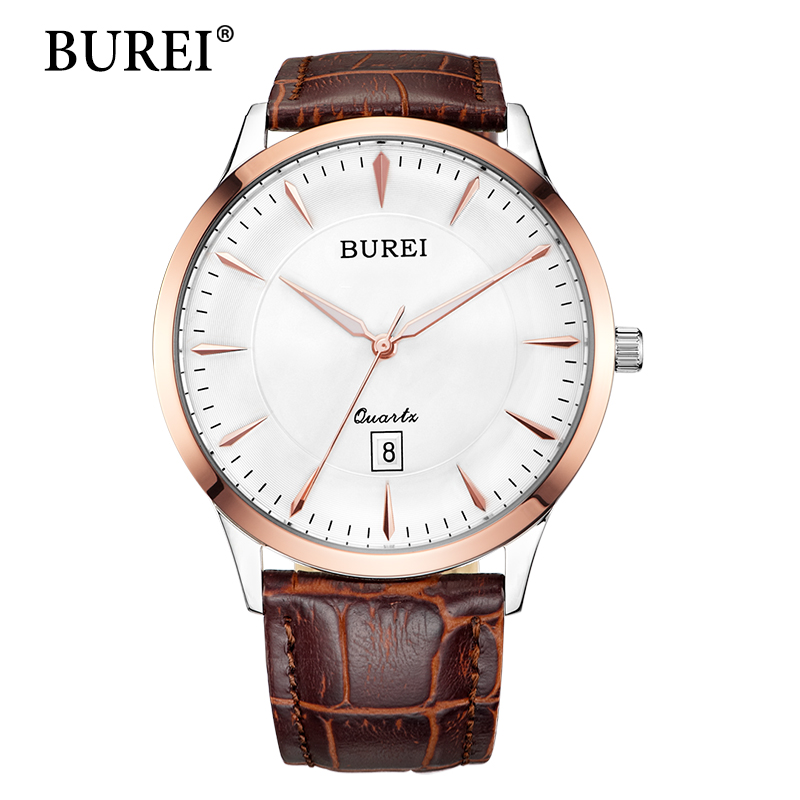 Men Watch Top Fashion Brand BUREI Male Sapphire Hours Brown Genuine Leather Strap Waterproof Quartz Wristwatches Hot Sale Gift 2017 burei men watches top brand fashion clock genuine leather strap casual saat erkekler watch waterproof wristwatches hot sale