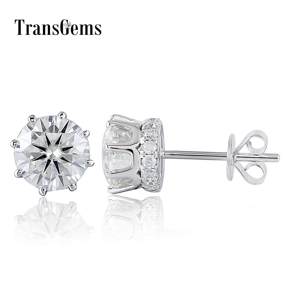 Transgems 14K 585 White Gold 2CTW 6.5mm GH Color Clear Round Brilliant Moissanite Stud Earring with Accents Push Back four color round stud earring set 4pair