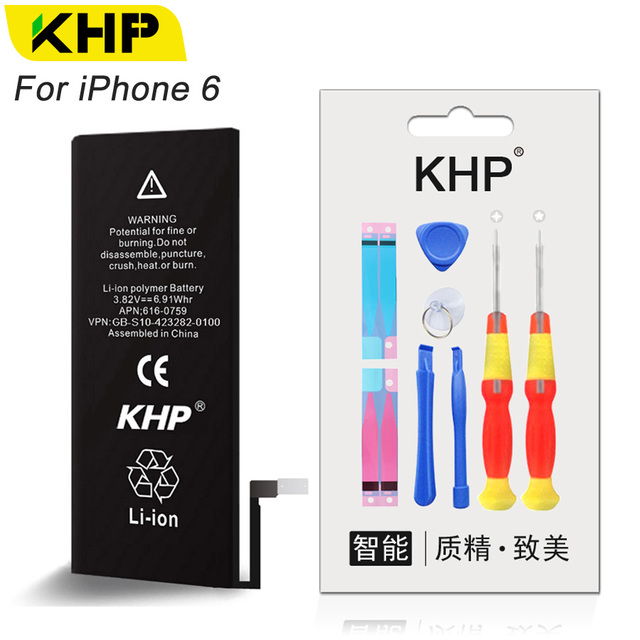 KHP 2017 New Original Replacement Phone Battery For iPhone 6 6G iPhone6 Real Capacity 1810mAh 0 Cycle Tool Kit Sticker Batteries