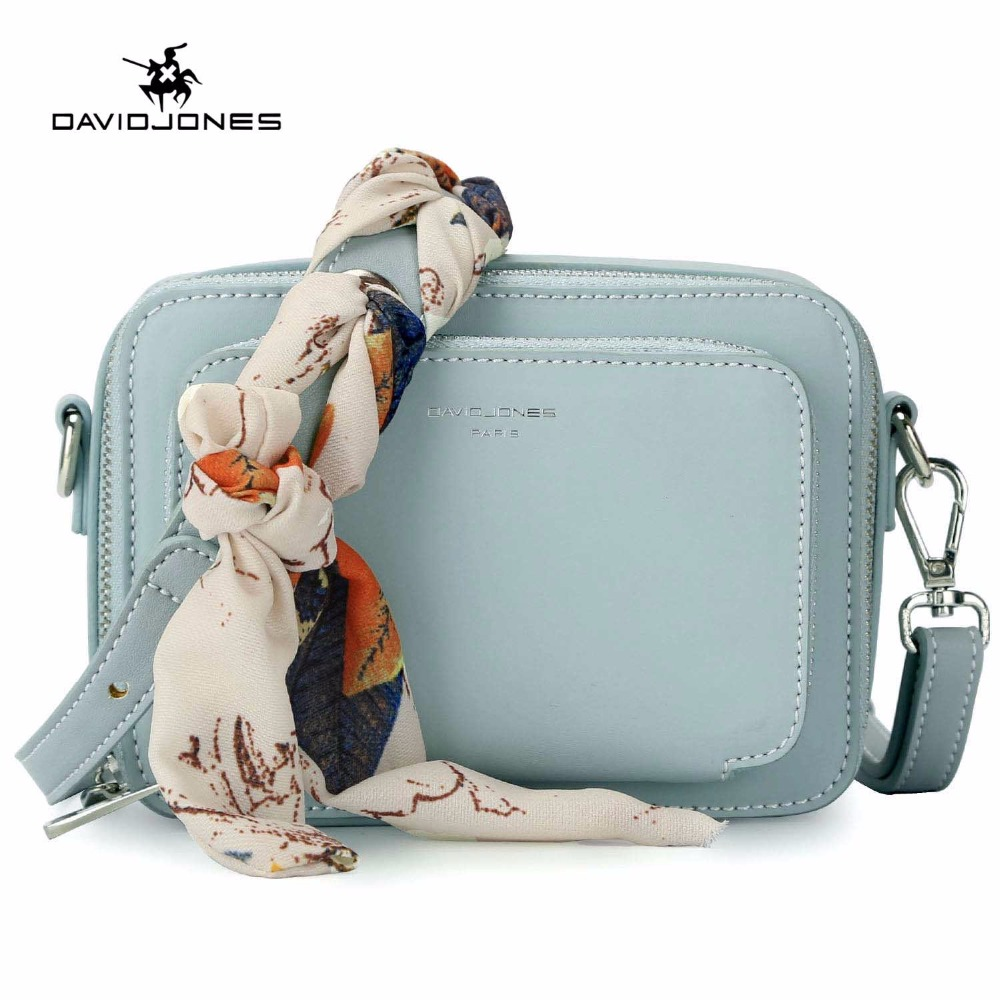 DAVIDJONES femmes sac à main en cuir pu femme messenger sacs petite dame scarve sac à bandoulière fille marque sac à bandoulière livraison directe