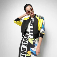 New Streetwear 2018 Autumn Women's Jacket Patchwork Loose Female Cool Personality Coats Cartoon Letters Printed Outerwear Wrap