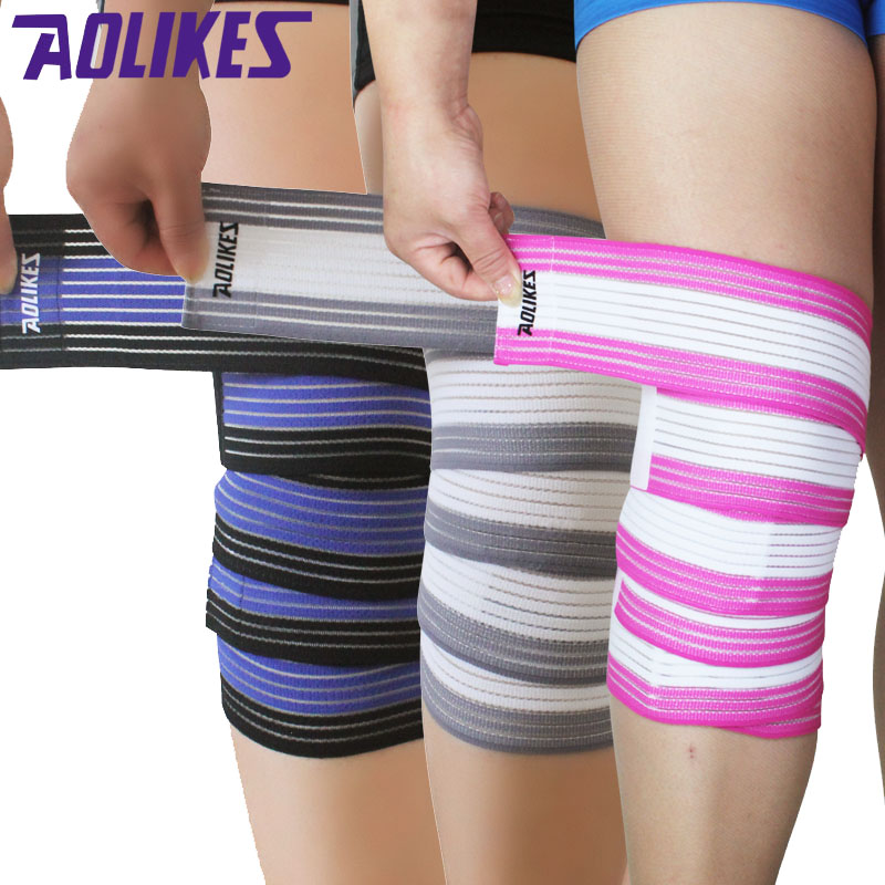 AOLIKES 2 Pcs/Lot Breathable Sports Elastic Bandages Knee Leg Ankle Elbow Compression Protector For Cycling Mountaineering Gym