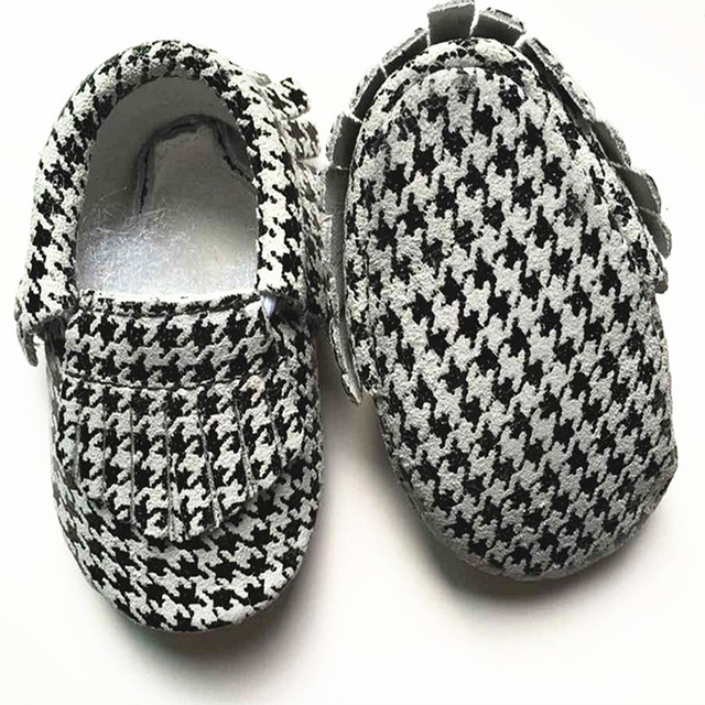 New style Genuine Leather baby shoes can be customized First Walkers grid design Toddler baby moccasins Shoes Free shipping