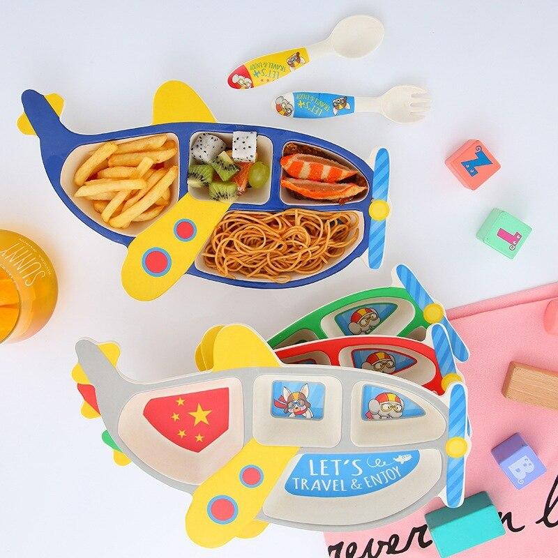 3PCS Bamboo fiber children's plate anti-drop aircraft shape grid bowl eating fork spoon set baby feeding tableware