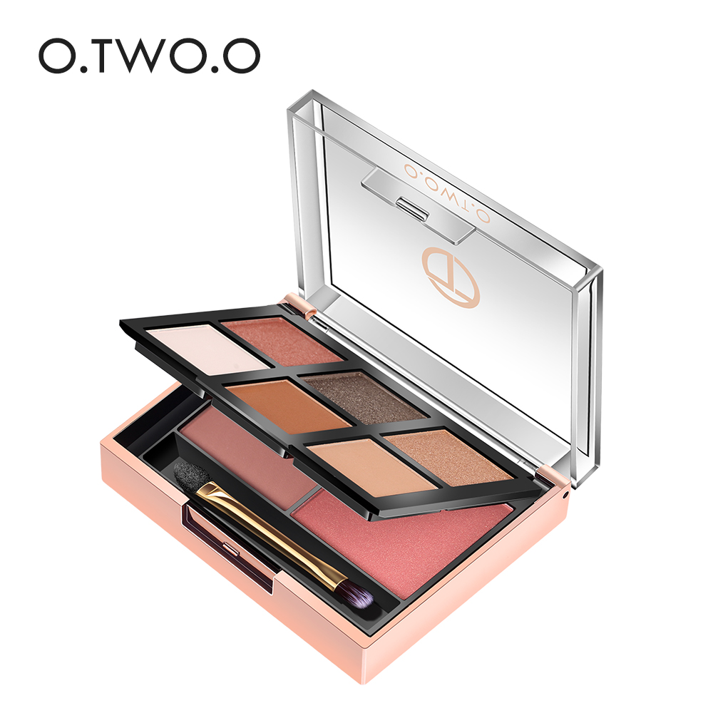 O.TWO.O 2 In 1 Eyeshadow Palette 6 Color + Blush Powder 2 Color Easy To Wear Pigment Makeup Kit For Daily Use