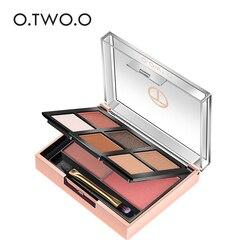 O.TWO.O 2 в 1 палитра теней для век 6 цветов + пудра для румян 2 цвета легко носить пигментный набор для макияжа для ежедневного использования