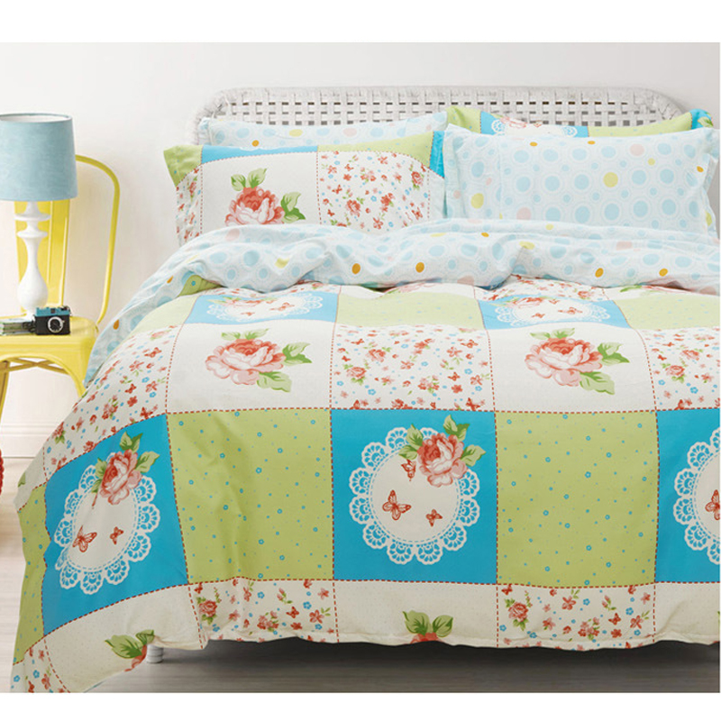 Vintage Patchwork Flora 4Pcs Full/Queen Size Cotton Bed Quilt/Duvet/Doona Cover Set 2xPillowcase Shams&Sheet Flower Countrystyle