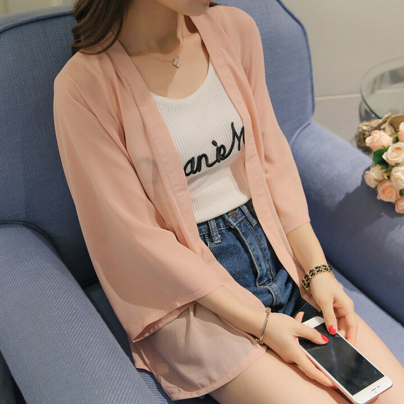 Chiffon Kimono Cardigan Casual Batwing Sleeve Loose Pink Women   Blouses     Shirts   Loose Summer Women Tops Beach Outerwear
