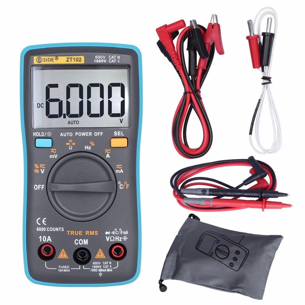 BSIDE Auto de la gama multímetro Digital de verdadero valor eficaz (Rms 6000 cuenta DC/DA amperímetro del voltímetro de multimetro resistencia de la capacitancia de RM102