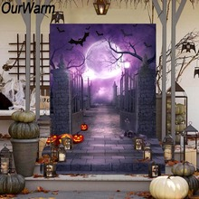 OurWarm 150x220cm Halloween Photo Backdrop Graveyard Door Pumkin Ghost Bat Moon Pattern Background Halloween Decoration Props 150x220cm temple of god in bangkok thailand backdrop white clouds temples golden overhang photography background
