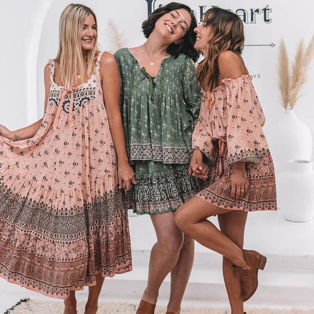 507fb68e5a8 Women Dress 2018 Summer Sleeveless Print Dress Female V Neck Bohemian Dress  Loose Long Holiday Beach