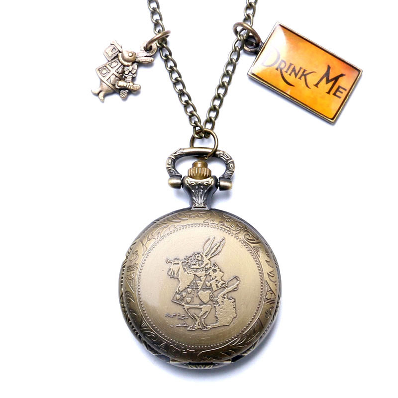цена Alice In Wonderland Extension Antique Rabbit & Alice Design Bronze Pocket Watch With Drink Me & Rabbit  Pendant