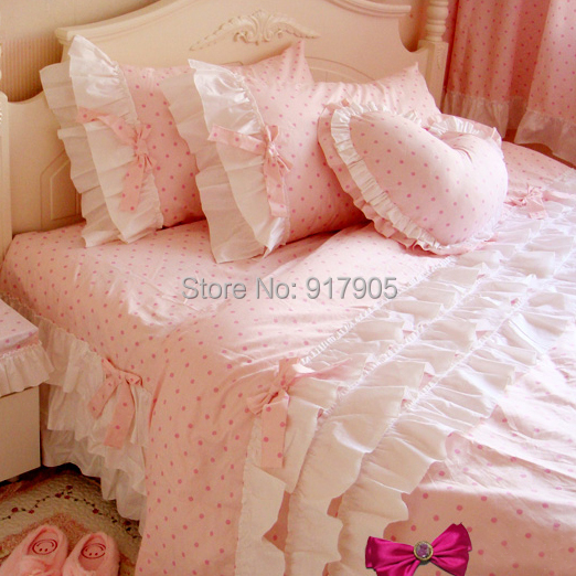 Cute Korean Pink Polka Dot Comforter Sets Romantic White