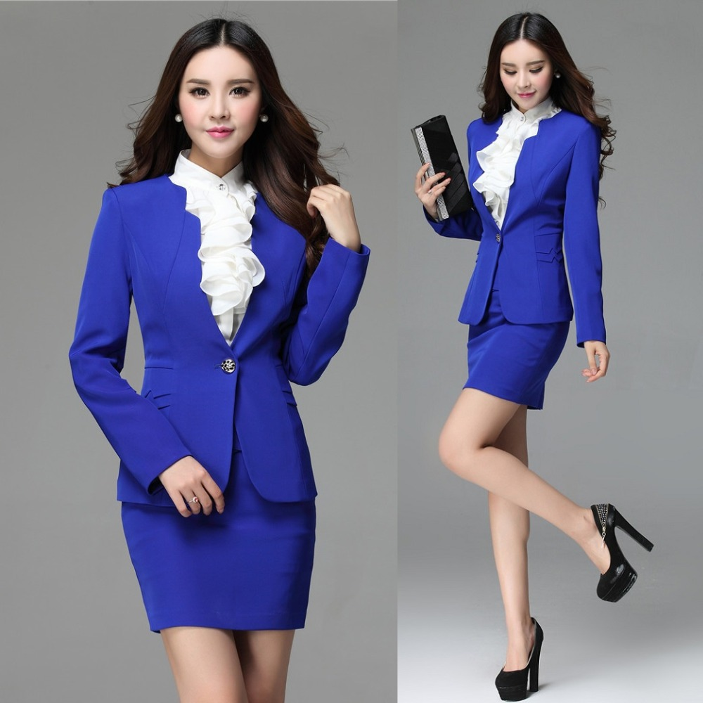 Formal Blue Blazer Women Skirt Suits Work Wear Skirt and Jacket ...