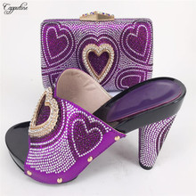 Charming purple ladies high heel sandals&bag series high heel shoes matching handbags with heart design for party 226-88