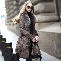 Пальто из натурального меха, зимняя куртка для женщин, Лисий мех, воротник, теплый мех кролика, пальто, роскошный мех кролика, кожаные куртки