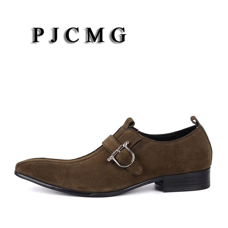 PJCMG/Модная Мужская обувь; замшевая обувь из натуральной кожи с пряжкой на ремешке с острым носком; цвет черный, Brwon; мужская повседневная Свадебная деловая обувь - 5