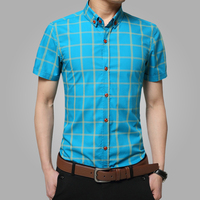 2016 New Short Sleeve Men Shirts Cotton Plaid Shirts Male Casual Fashion Mens Shirts Slim Fit