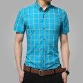 2016 nova homens de manga curta de algodão xadrez masculino casual moda slim fit camisa listrada homens plus size 5XL