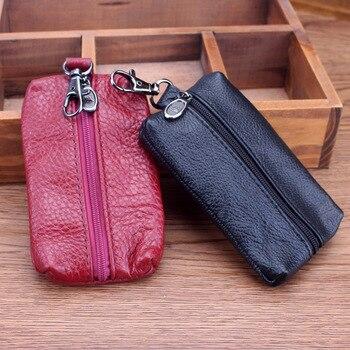 Мужской Чехол-бумажник унисекс, из натуральной коровьей кожи, с отделением для ключей, модный, многофункциональный, 2019