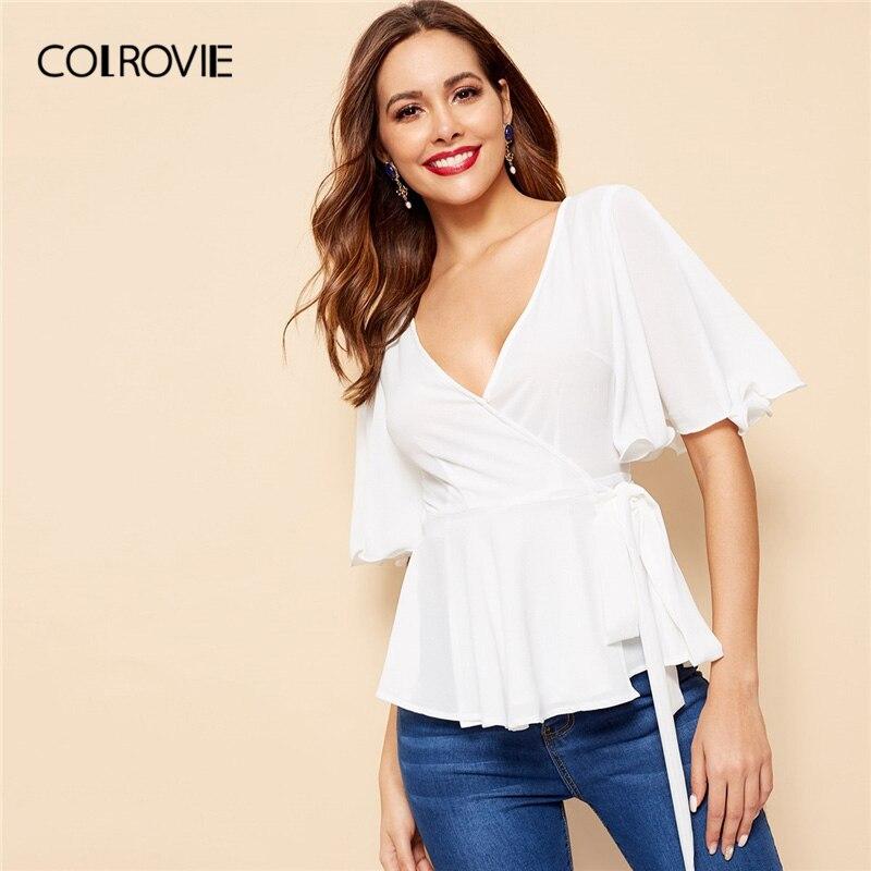 COLROVIE White Surplice V Neck Wrap Knot Peplum Top Women Elegant   Blouse     Shirt   2019 Summer Half Sleeve Office Ladies   Blouses
