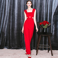 Europe New Fashion Spring and Summer Fashion Sexy Hollow Out High Waist Woman Rompers Full Length Trousers Female Red Jumpsuits