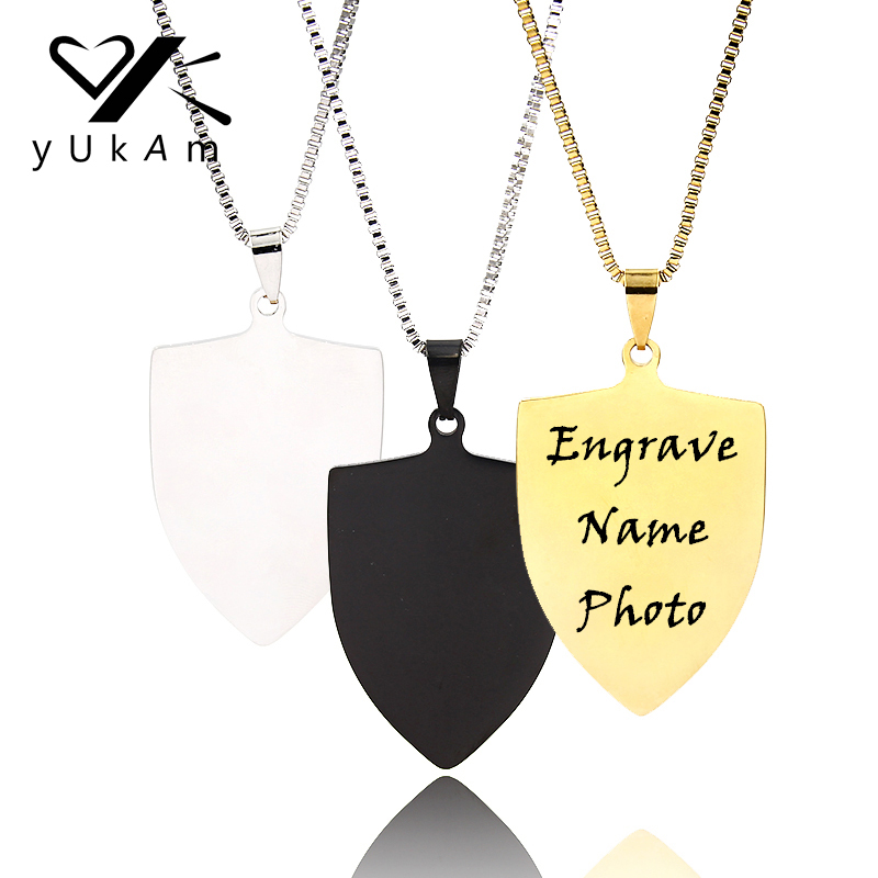YUKAM Male Accessories Stainless Steel Personalized Name Necklace Photo Engraved Jewelry Custom Dog Tag Pendant Shield Necklaces image