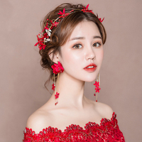 Red Fabric Flower Headband Women Costume Photography Headpiece Hair Accessories with Drop Earrings Girls Prom Hairbands Handmade