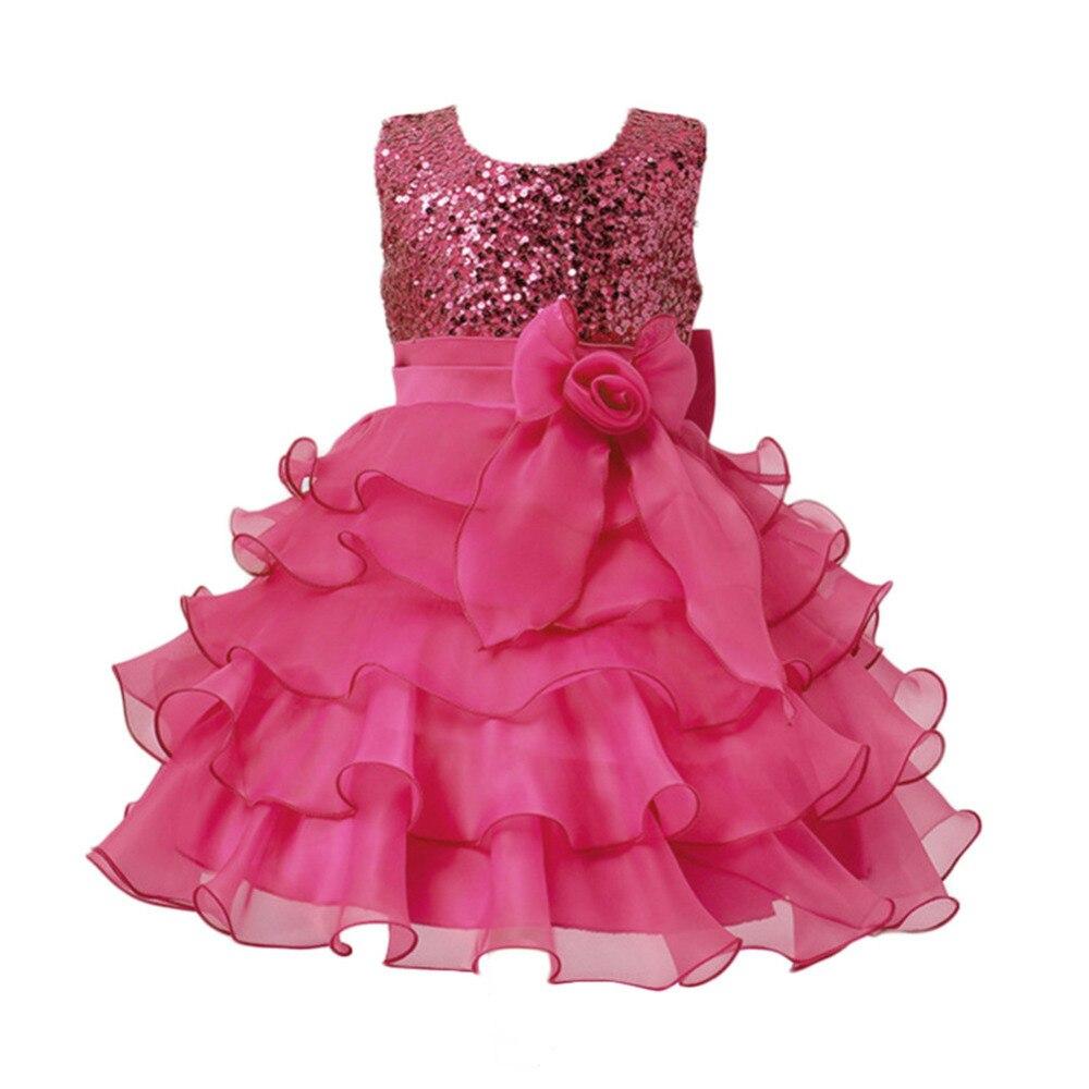 Brand Flower Girls Birthday Dress Sequined Mesh Girl Clothing Sleeveless Princess Dresses Costume Kids Wedding Party Wear