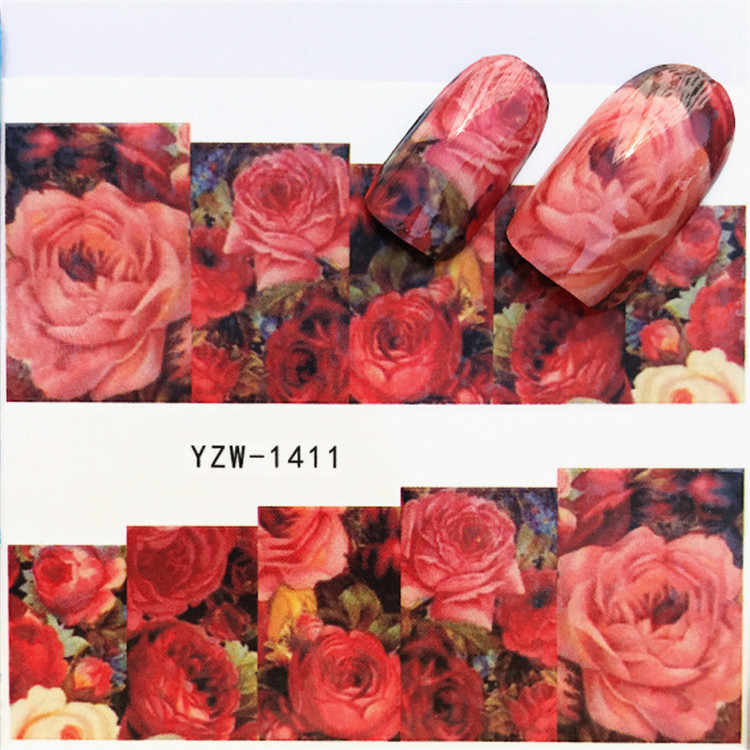 1 pcs Full Nail Stickers Flowers plants  Water Decal Cat Plant Pattern 3D Manicure Sticker Nail Art Decoration m2N65
