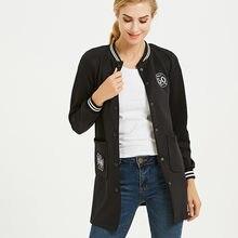 Женская хлопковая бейсбольная куртка однобортная приталенная