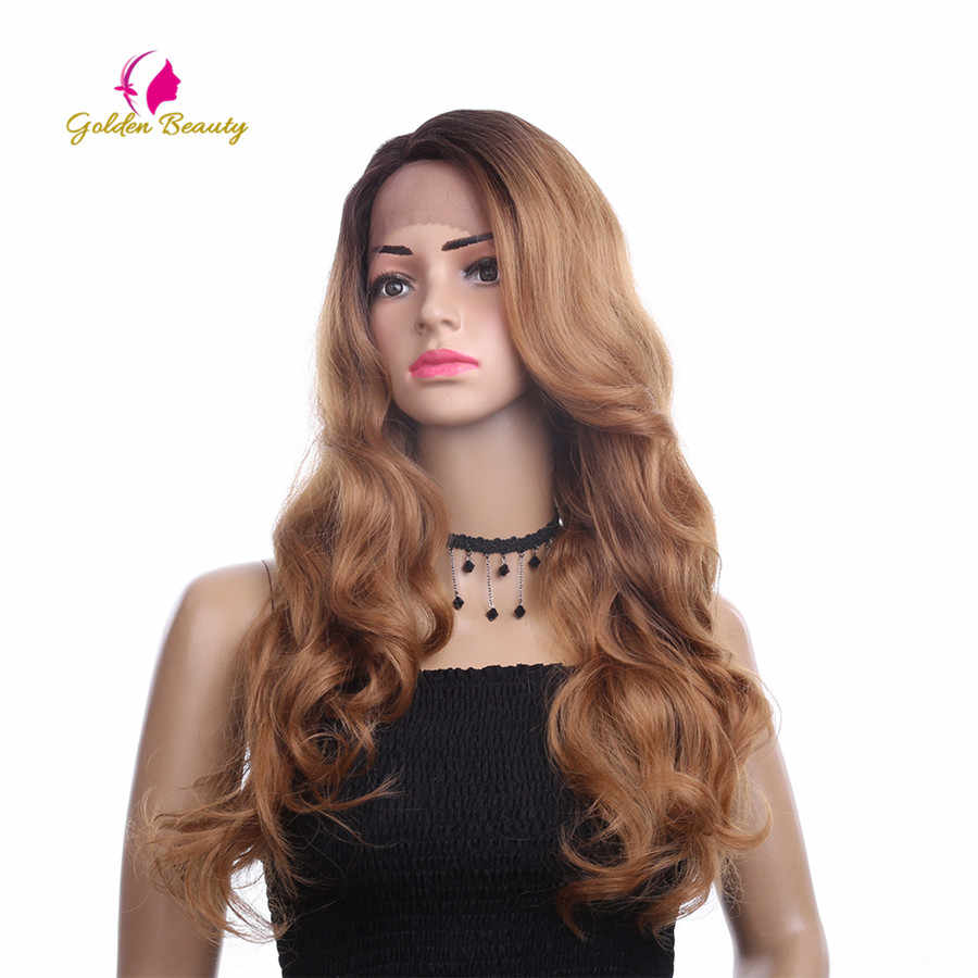 الذهبي الجمال 26 بوصة طويل فضفاض موجة شعر مستعار الجانب جزء Ombres الاصطناعية الشعر الدانتيل الجبهة الباروكات للنساء