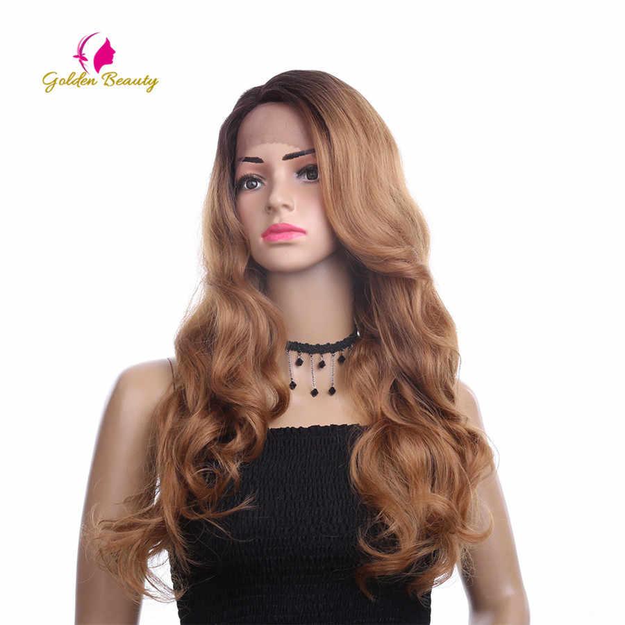 Goldene Schönheit 26 zoll Lange Lose Welle Perücke Seite Teil Ombres Synthetische Haar Spitze Front Perücken für Frauen