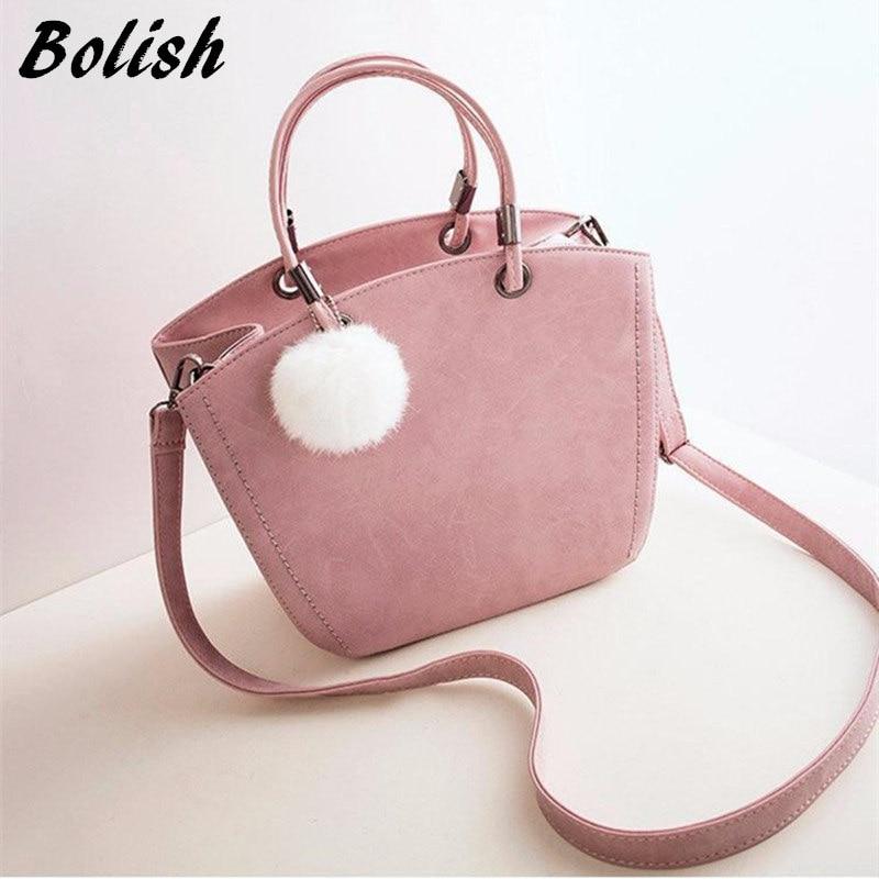 Bolish Women Sweety PU Handbag Female All Purpose Hairball Shoulder Bag Lady Causal Daily Messager Bag Fashion Crossbody Bag