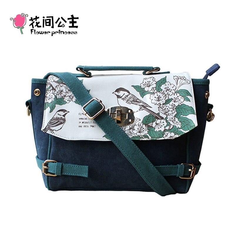 ФОТО Flower Princess Brand Girl Canvas Retro Satchels Top-handle Handbag Ladies Shoulder Bag Women's Messenger Bag bolsos mujer