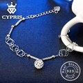NÃO FALSO 100% 925 esterlina braceletes de prata fina pura sólida autêntica não falso mulheres senhora menina amigo presente hot cypris bola charme