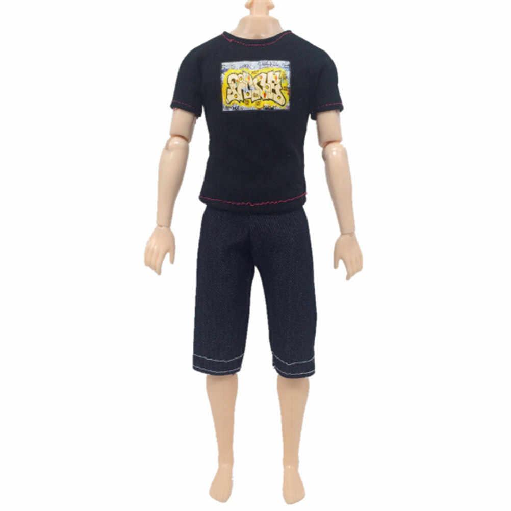 Комплект из 2 предметов, повседневный костюм для куклы Кен, одежда, аксессуары, одежда черная футболка и штаны капри, костюм для мальчика на рост 30 см, кукла