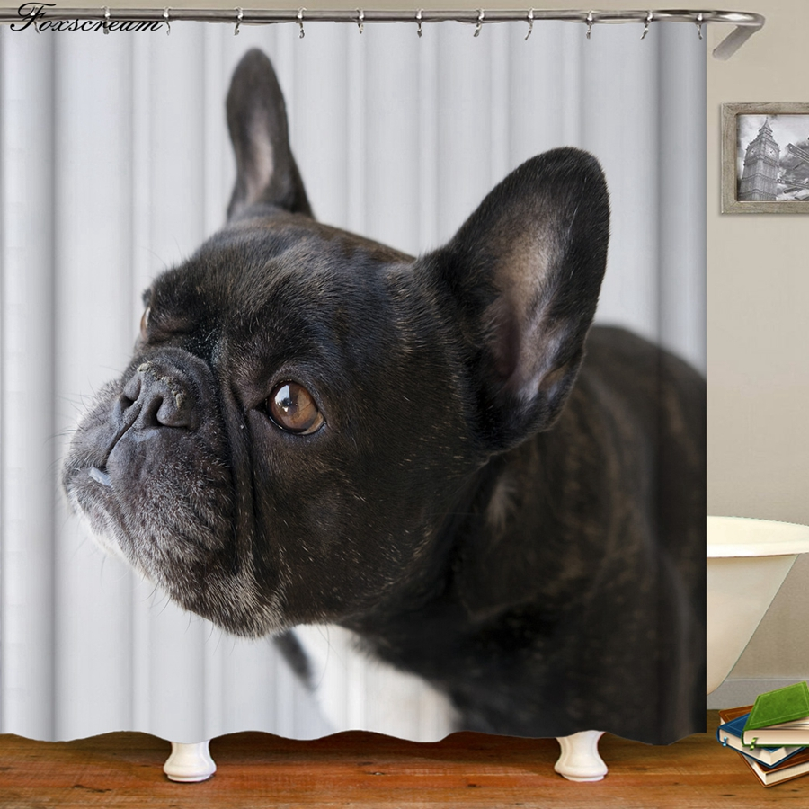 Detail Feedback Questions About French Bulldog Bath Curtain Bathroom Shower Curtains Fabric Waterproof Funny Cortina De Ducha