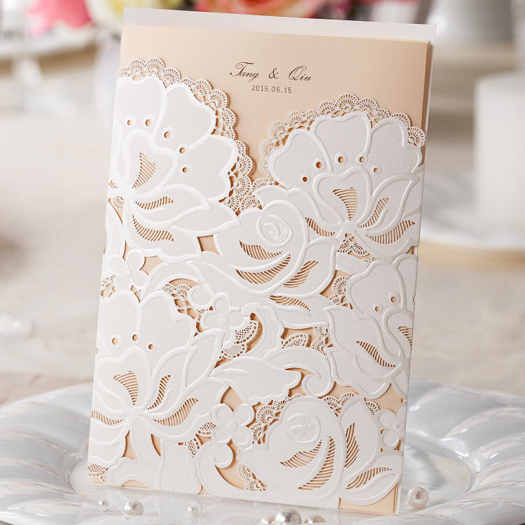 Us 0 6 Cw100 Classic White Hollow Hot Lace Flowers Wedding Invitations Cards In Cards Invitations From Home Garden On Aliexpress