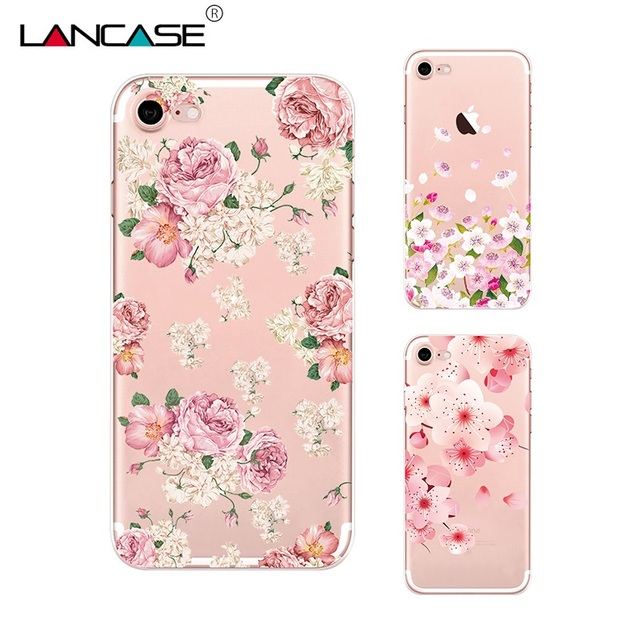 buy popular f8809 a3cc9 US $1.79 10% OFF|LANCASE For iPhone 6 6S Case Cute Silicone Flower Paint  Luxury Lady Soft TPU Case For iPhone 6 Plus 6S Plus Cover Funda Clear-in ...