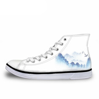 NOISYDESIGNS Hand Painted Landscape 3D Print Spring High Top Men Vulcanize Shoes Fashion Lace up Breathable Canvas Shoes Male
