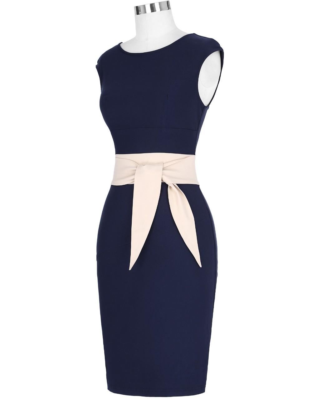 Retro Vintage Sleeveless Crew Neck 2017 Sexy Hollowed Back Cotton Navy Blue Party Dresses Vestidos Casual Office Bodycon Dress 8