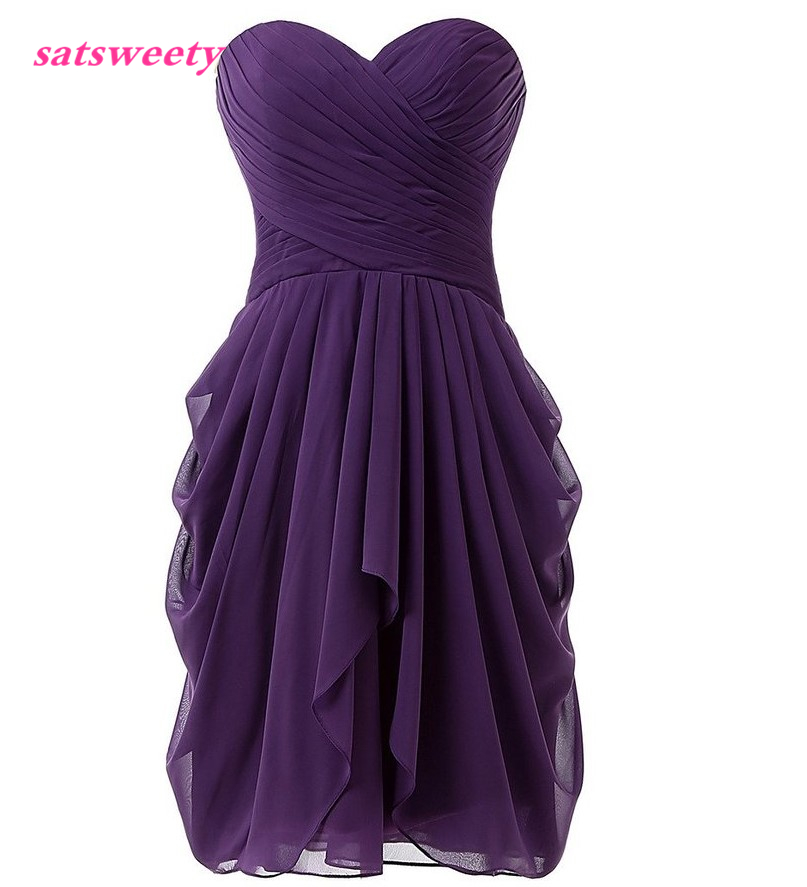 Satsweety Custom Color Real Photo Chiffon   Bridesmaid     Dresse   2019 New Knee Length Sleeveless Short Prom Party Gown Plus Size