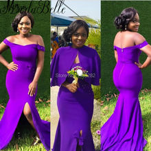 Nigeria Long Mermaid Bridal Engagement Dresses For Black Women Evening Dresses With Cape African Formal Gowns Pearls Side Slit