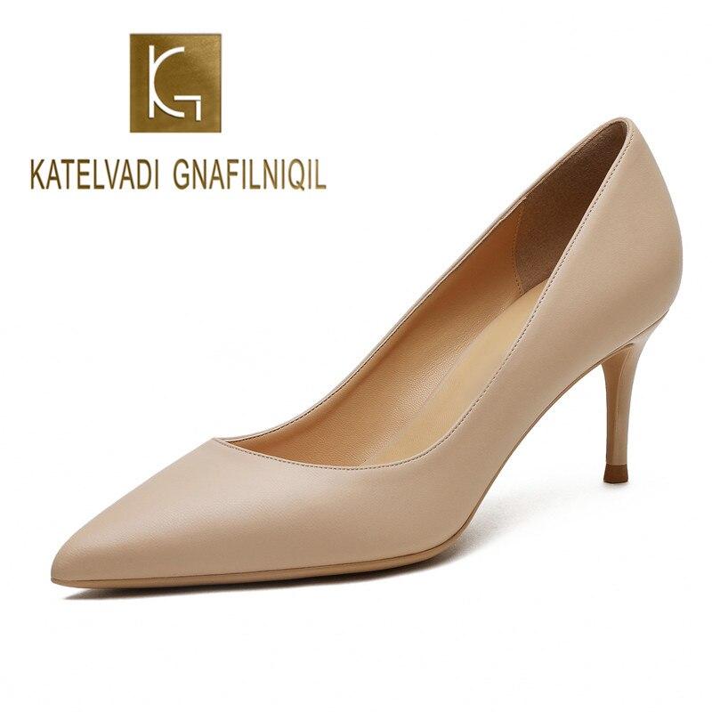 KATELVADI Ladies Shoes Beige Split Leather 6CM High Heel Pumps Women Shoes Sapato Feminino Footwear Size 34 42 K 324