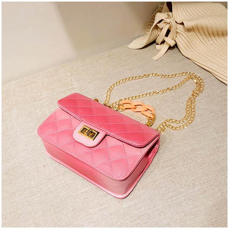 Luxury Women Classic handbag Designer Pink Blue Gradient PU Leather Lingge Shoulder Bag (8)