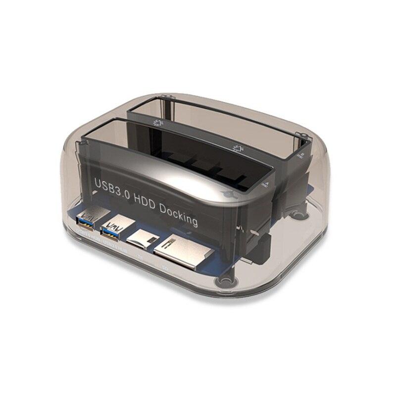 Nouvelle Station d'accueil de Dock HDD double baie transparente disque dur externe Compact pour 2.5 pouces 3.5 pouces SATA HDD USB 3.0