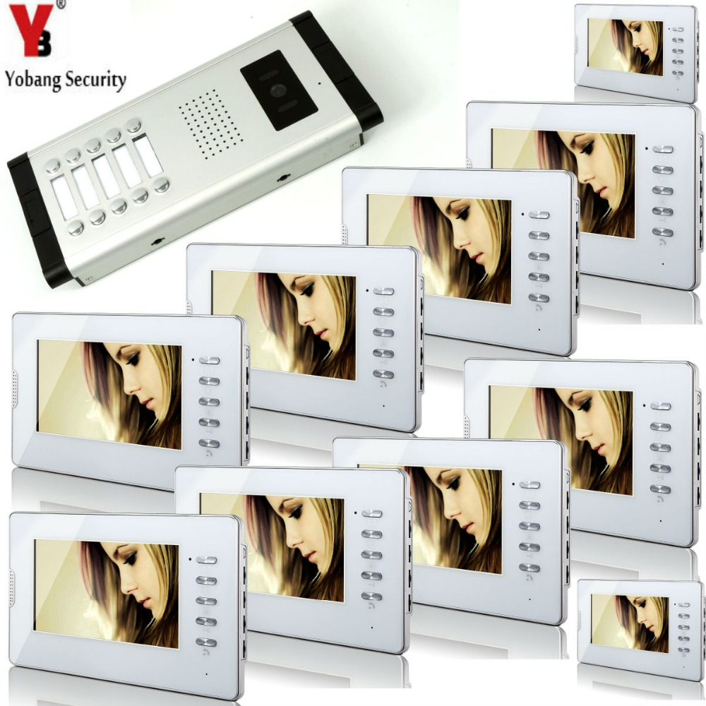 Yobang Security 10 Units Apartment Video Doorbell 7'Inch Monitor Wired Video Intercom Doorbell Door Phone 1000TVL Camera System yobang security free ship 7 video doorbell camera video intercom system rainproof video door camera home security tft monitor